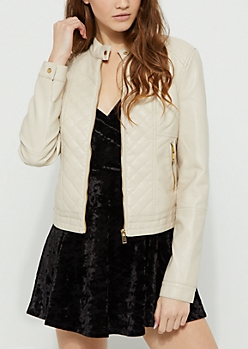 White Quilted Sherpa Jacket