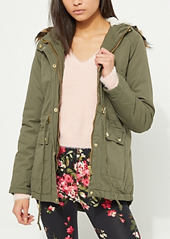 Olive Faux Fur Hooded Cinched Waist Anorak