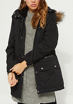 Black Quilted Long Utility Jacket