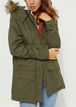 Long Olive Quilted Long Utility Jacket