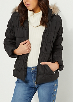 Ruched Black Puffer Jacket