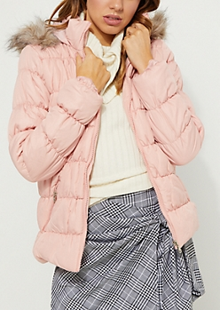 Ruched Pink Puffer Jacket