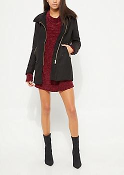 Black Wool Blend Zipper Coat