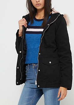 Black Cinch Waist Faux Fur Hooded Anorak