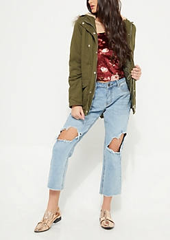 Olive Cinch Waist Faux Fur Hooded Anorak