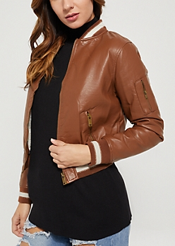 Brown Faux Leather Sherpa Lined Bomber Jacket