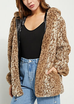 Leopard Print Long Faux Fur Jacket