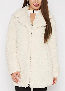 Cream Fluffy Sherpa Coat