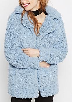 Light Blue Fluffy Sherpa Coat