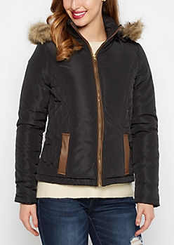 Black Quilted Faux Fur Hooded Coat