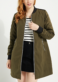 Olive Quilted Sleeve Longline Bomber