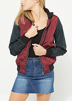 Burgundy Plush Bomber Puffer Coat