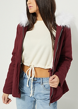 Burgundy Faux Fur Hooded Twill Anorak