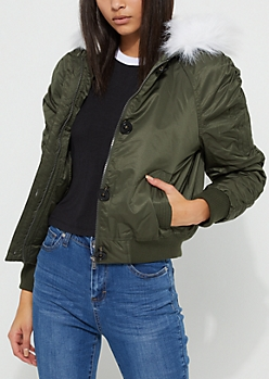 Olive Faux Fur Hooded Bomber Jacket