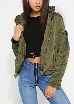 Olive & Pink Hooded Bomber Jacket