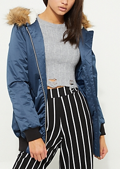 Ruched Navy Faux Fur Trimmed Bomber Jacket