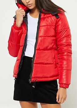 Red Asymmetrical Puffer Coat