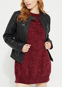 Black Faux Leather Quilted Shoulder Moto Jacket