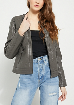 Gray Faux Leather Quilted Bomber Jacket