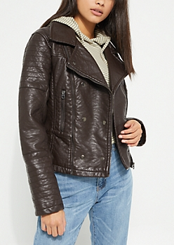 Brown Faux Leather Asymmetrical Moto Coat
