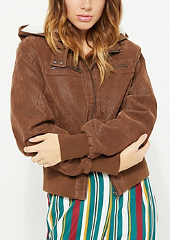 Brown Faux Suede Hooded Bomber Jacket