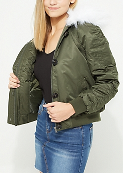 Olive & White Hooded Bomber Jacket