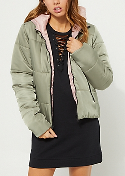 Olive Hooded Puffer Jacket