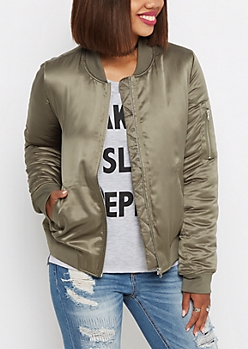 Olive Lined Bomber Jacket