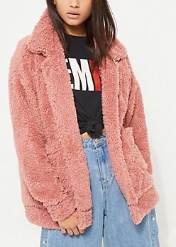Pink Faux Sherpa Coat