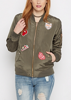 Olive Novelty Patch Nylon Bomber