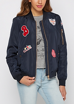 Navy Novelty Patch Nylon Bomber