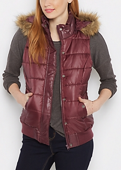 Burgundy Faux Fur Hooded Puffer Vest