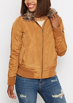 Vegan Fur Hooded Utility Bomber