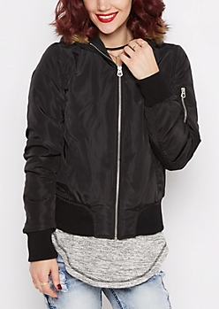 Black Faux Fur Trim Hooded Bomber