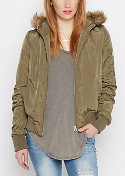 Olive Faux Fur Trim Hooded Bomber