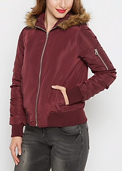 Burgundy Faux Fur Trim Hooded Bomber