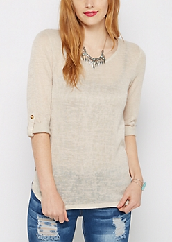 Oatmeal Marled Knit Tunic Top