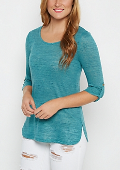 Teal Marled Knit Tunic Top