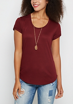 Burgundy Cuffed Shirttail Tee