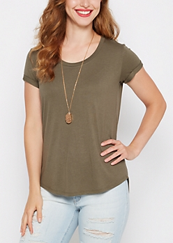 Dark Olive Cuffed Shirttail Tee