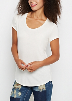 Ivory Cuffed Shirttail Tee