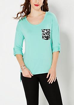 Mint Green Leopard Pocket Top