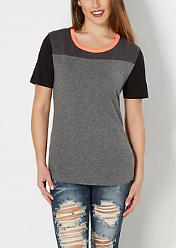 Gray Marled Color Block Tee