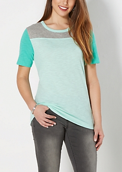 Teal Slub Knit Blocked Tee