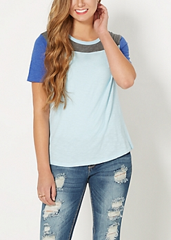 Light Blue & Navy Blocked Tee