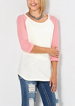 Pink & Ivory Thermal Baseball Tee