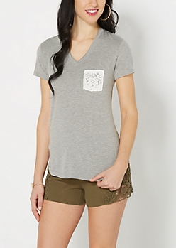 Heather Gray Lace Pocket Tee