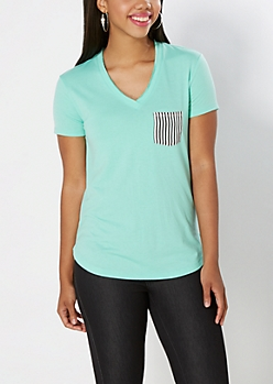 Striped Pocket V-Neck Tee
