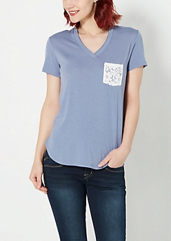Light Blue Floral Pocket V-Neck Tee