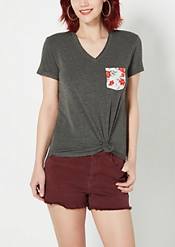 Rosy Pocket Raw Edge V-Neck Tee